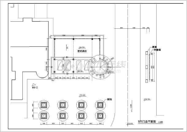小区大门方案设计全套CAD图-图3