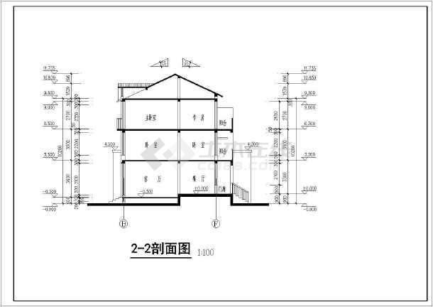 居住小区别墅建筑图(共11张)-图3