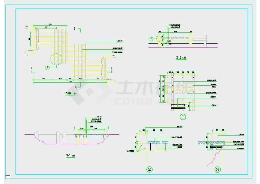 园林小型木结构折桥cad施工图纸-图1
