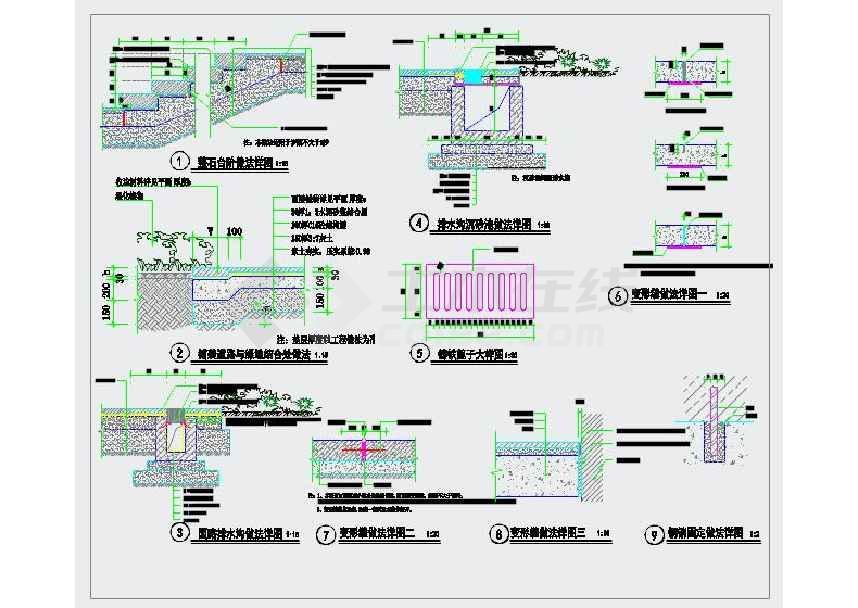 园林景观通用详图(含人行道、车行道、自行车道等)-图2