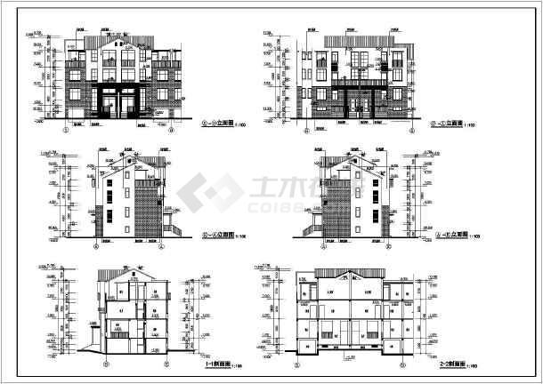 某居住小区别墅建筑图(共11张)-图1