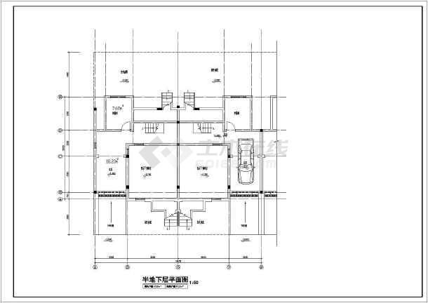 某居住小区别墅建筑图(共11张)-图2