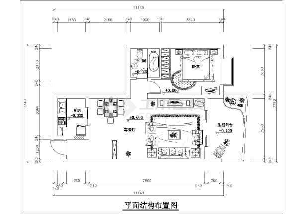 一室户型室内装修方案cad平面施工图-图1