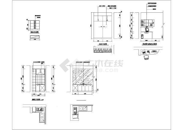 一室户型室内装修方案cad平面施工图-图2