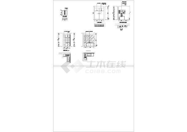 一室户型室内装修方案cad平面施工图-图3