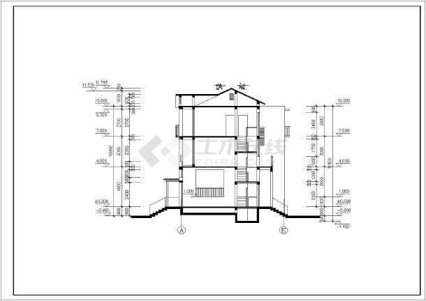 居住小区B型别墅建筑图-图二