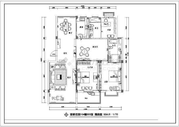 丽都花园住宅装修CAD设计施工图-图1