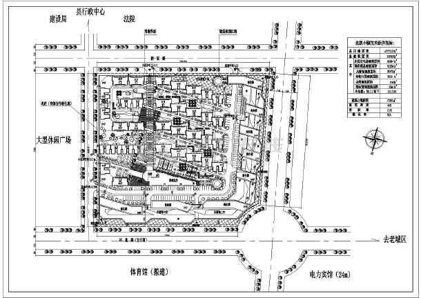 住宅小区建筑设计CAD总图-图1