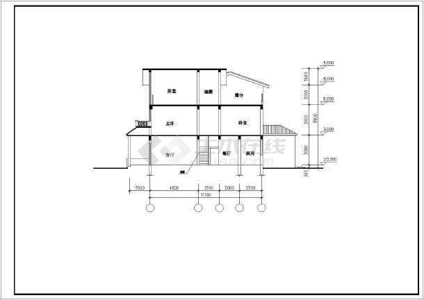 某地独院式别墅图纸-图3