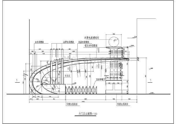 江畔明珠小区大门建筑设计图-图二