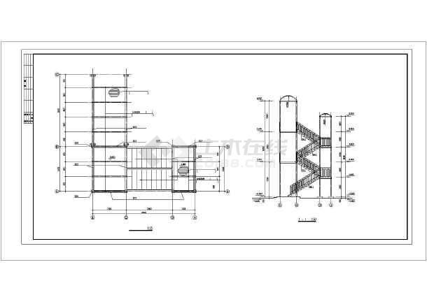 钢结构走廊楼梯cad施工设计图-图2