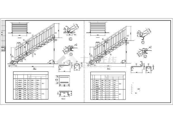 钢结构走廊楼梯cad施工设计图-图3