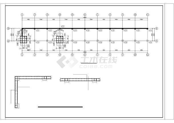 钢筋混凝土框架桥梁整套cad结构设计图纸-图1