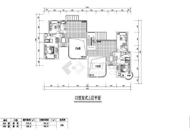 居住小区7种建筑cad户型图纸(共14张)-图一