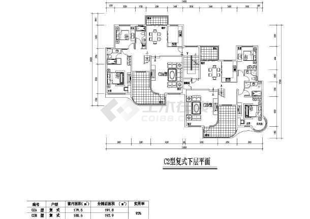 居住小区7种建筑cad户型图纸(共14张)-图2