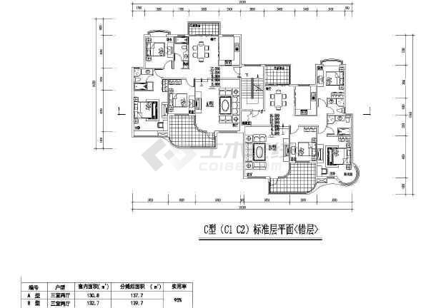 居住小区7种建筑cad户型图纸(共14张)-图3
