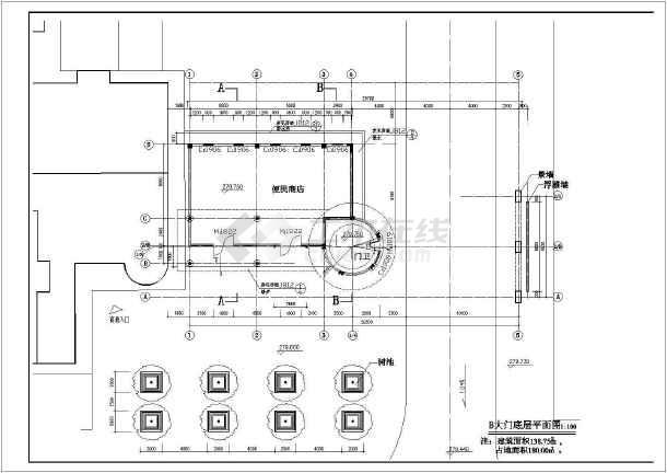 小区大门建筑施工图(共5张)-图1