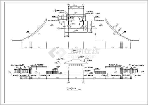 点击查看某小区大门建筑设计图(共5张)第1张大图