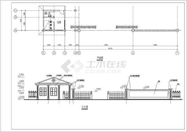 某小区大门建筑设计图(共5张)-图1