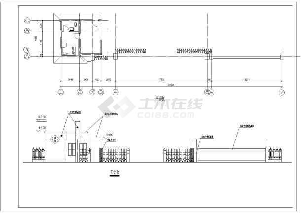 某小区大门建筑设计图(共5张)-图2