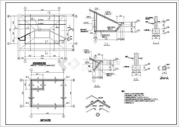 某小区大门建筑设计图(共5张)-图3