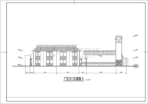 某厂区大门建筑设计施工图-图3