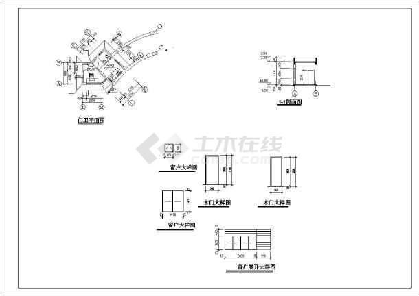 某工厂大门建筑设计图纸-图2