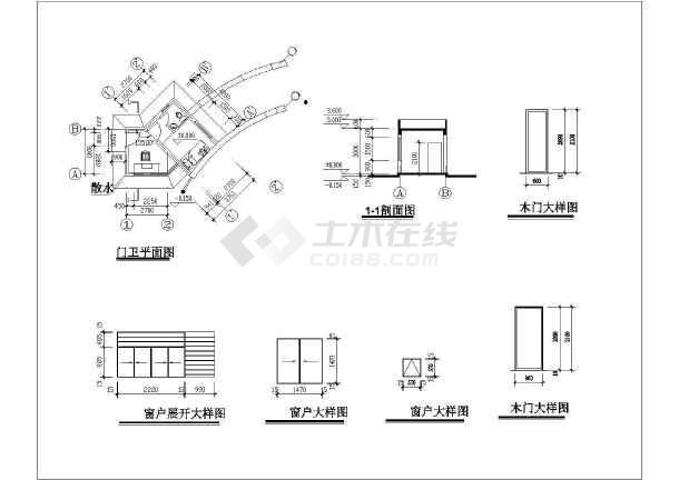某工厂大门建筑设计图纸-图3