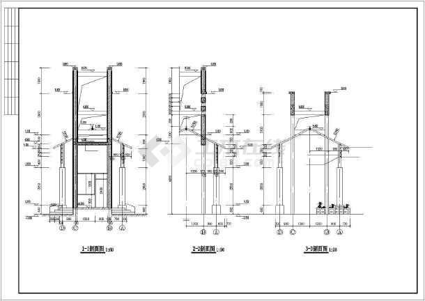 水木清华小区大门全套建筑图-图3