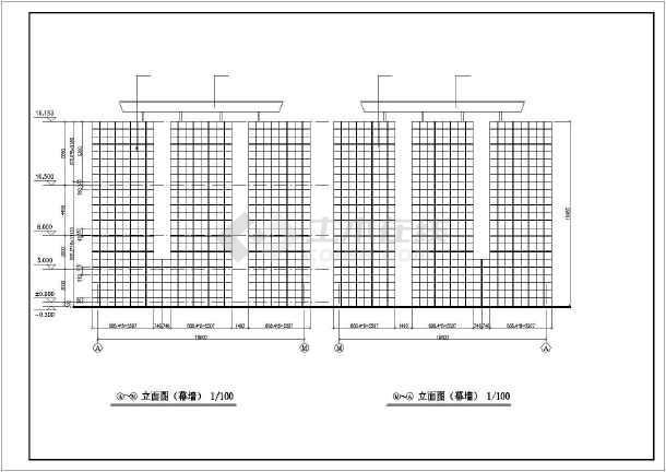 办公楼大门建筑设计cad施工图-图1
