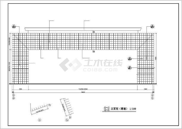 办公楼大门建筑设计cad施工图-图2