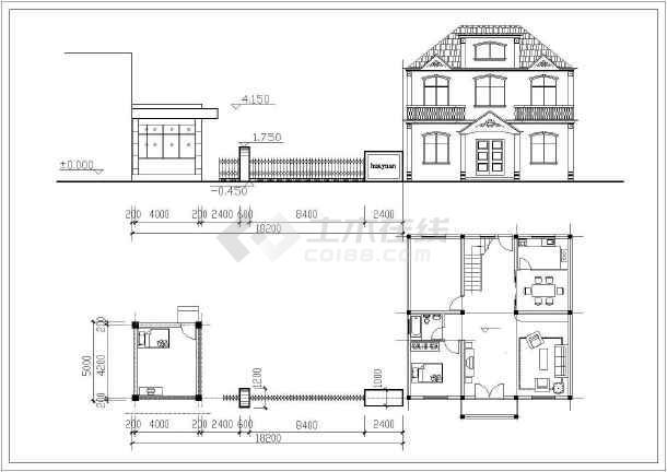公司大门建筑设计施工图-图1