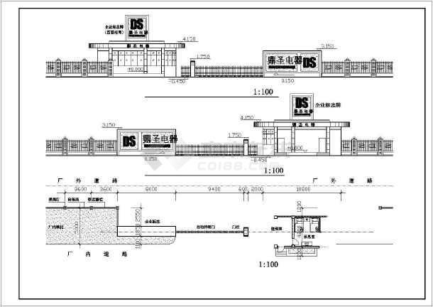 公司大门建筑设计施工图-图3