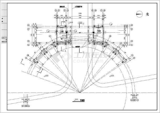 某花园住宅小区大门建筑设计图-图1