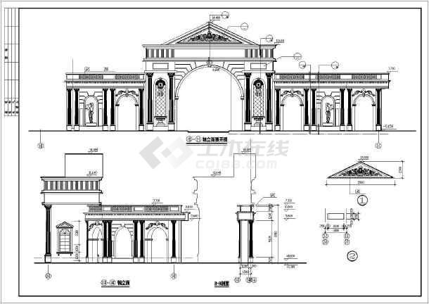 某花园住宅小区大门建筑设计图-图2