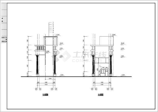 某花园住宅小区大门建筑设计图-图3