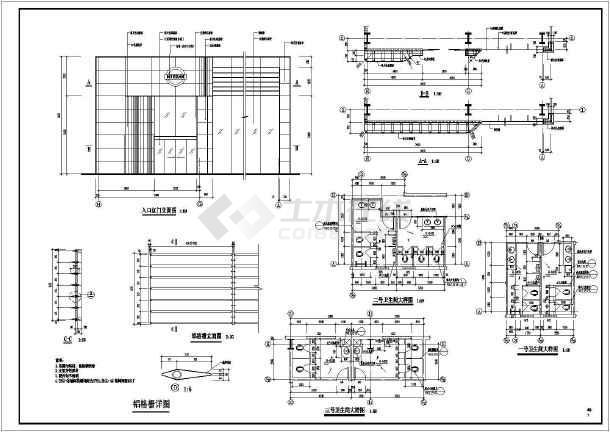 某小区二层车库建筑设计图-图2