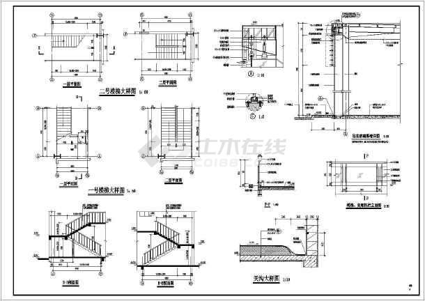 某小区二层车库建筑设计图-图3