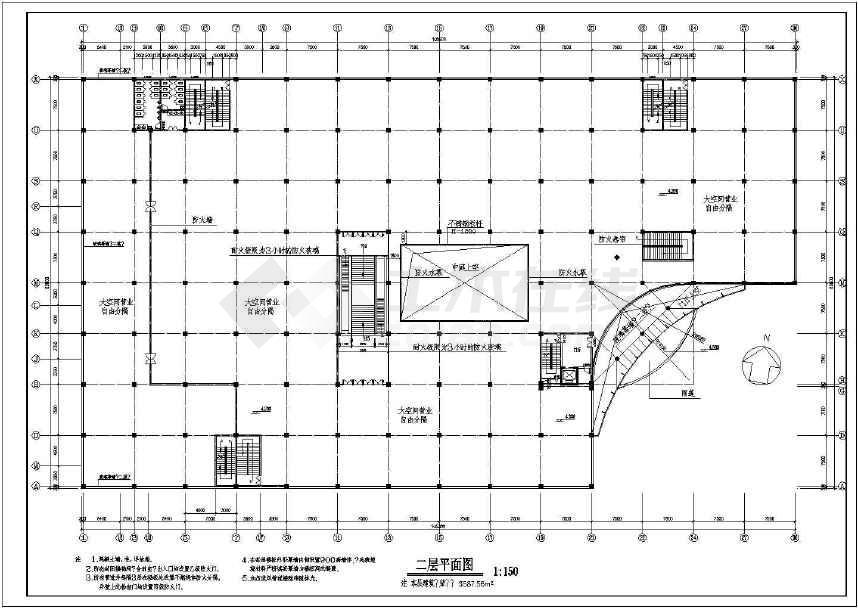 某地商场建筑设计方案图(共3张)-图1