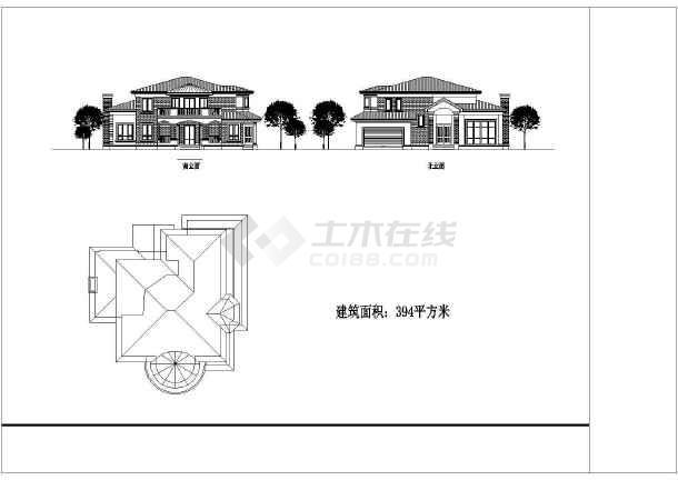 多个农村别墅设计cad建筑方案图-图2
