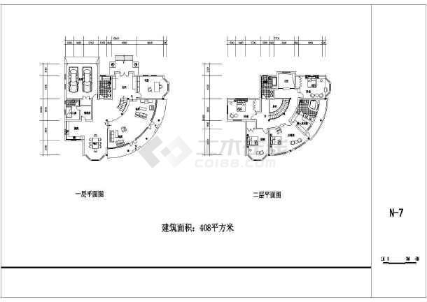 多个农村别墅设计cad建筑方案图-图3