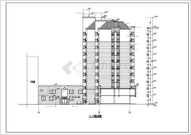 某小区高层住宅楼建筑cad施工图(全套)-图3