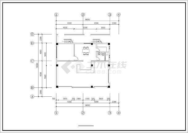 某小区多层商住楼建筑cad设计图-图3