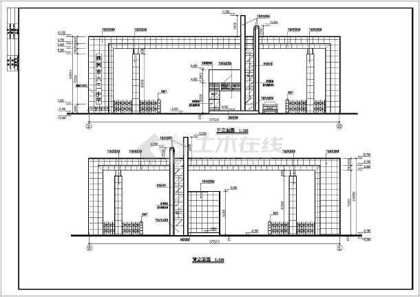 某初级中学大门全套建筑设计图-图一