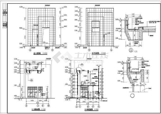某初级中学大门全套建筑设计图-图二
