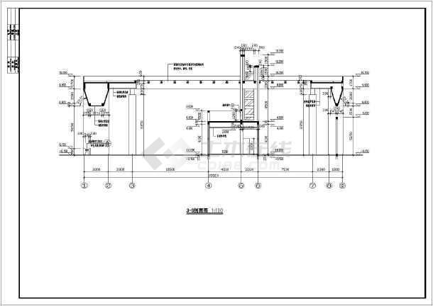 某初级中学大门全套建筑设计图-图2