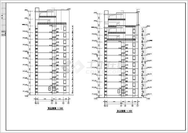 某市花园式高层住宅建筑cad施工图(共17张)-图3