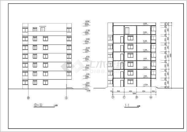 某地某个多层住宅建筑设计图(共5张)-图1