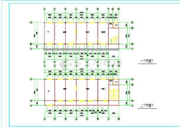 二层食堂建筑cad设计图-图1