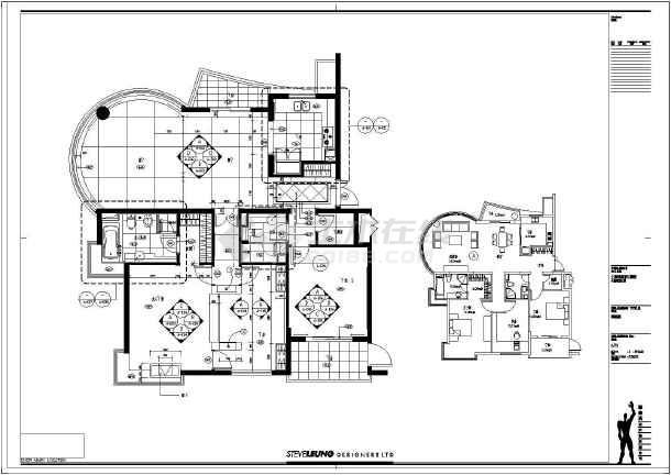 别墅建筑室内装修全套cad施工图-图1